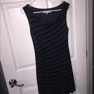 Loft gray with black stripes dress
